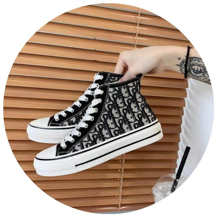 2020 new middle high top pattern graffiti canvas shoes for women