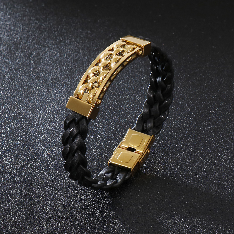 Korean jewelry charm, individuality and creativity, titanium steel leather bracelet, woven leather jewelry bracelet, man