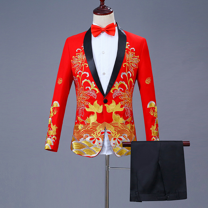 High grade Chinese mens dress has fish embroidery Chinese style suit every year. The bridegroom presides over the MC suit show