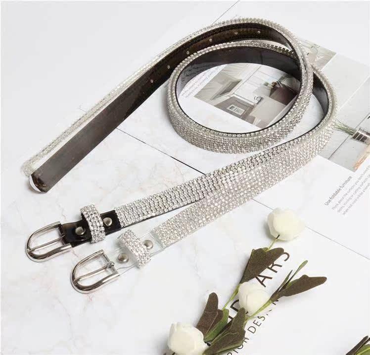 Laser diamond belt womens skirt accessories versatile waist seal waist belt luxury bright diamond waist chain hot promotion