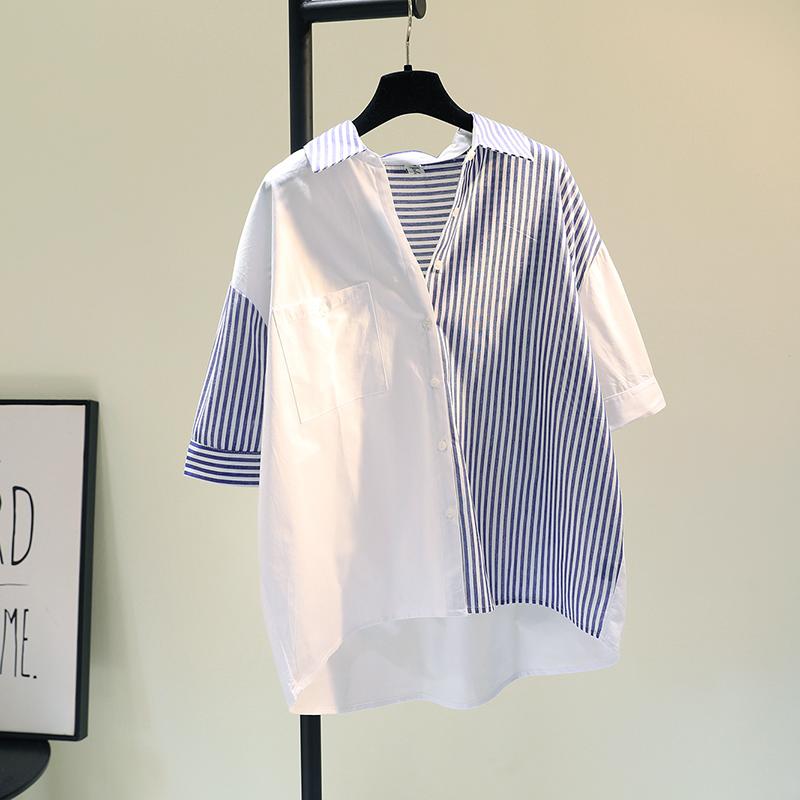 韩国单口袋蓝色拼接短袖衬衫女2021夏季新款宽松休闲衬衣薄上衣潮