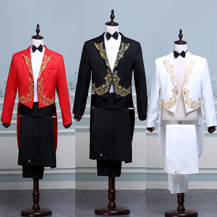 High end new mens Tuxedo Suit with inlaid pattern new stage performance suit for singers chorus conductor