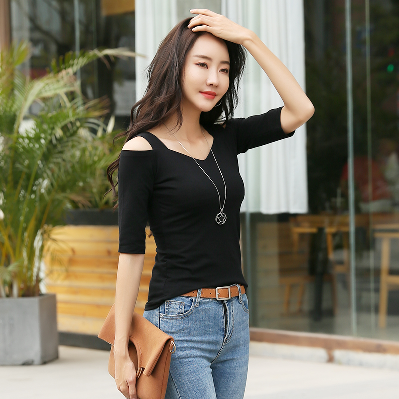 Off shoulder top womens one word collar T-shirt, middle sleeve fashionable and versatile show thin 2020 summer sling ins cotton base coat