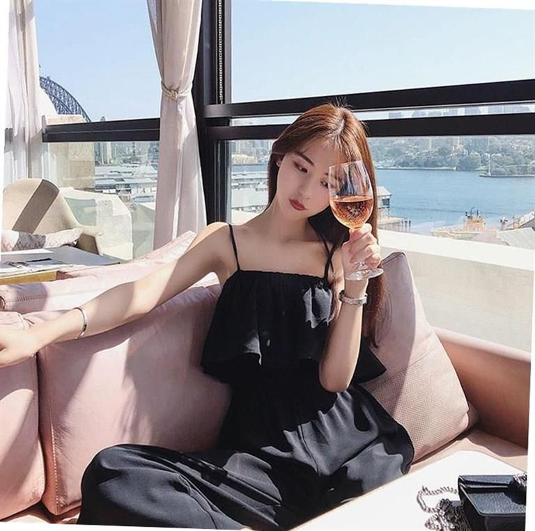 Shoulder leakage clavicle wide legged pants fat sister girl summer off shoulder one-piece sleeveless vest l yellow open back