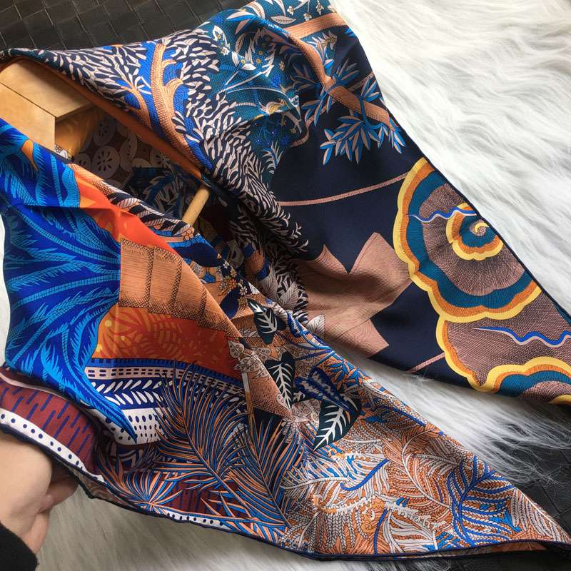 New silk scarves in 2020, fashionable in spring, blue in midsummer night: dream silk, silk, twill square scarves