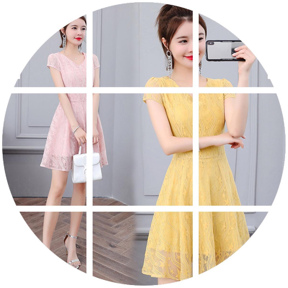 假一赔三2019夏季新款女装韩版修身显瘦夏裙子夏天短袖收腰镂空蕾丝连衣裙