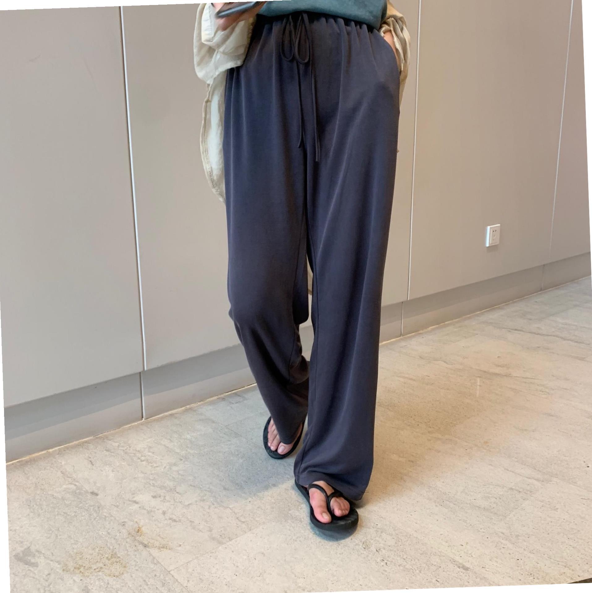 阔腿裤女高腰夏季垂感铜氨丝直筒坠感宽松西装拖地长裤休闲裤子女60.00元包邮