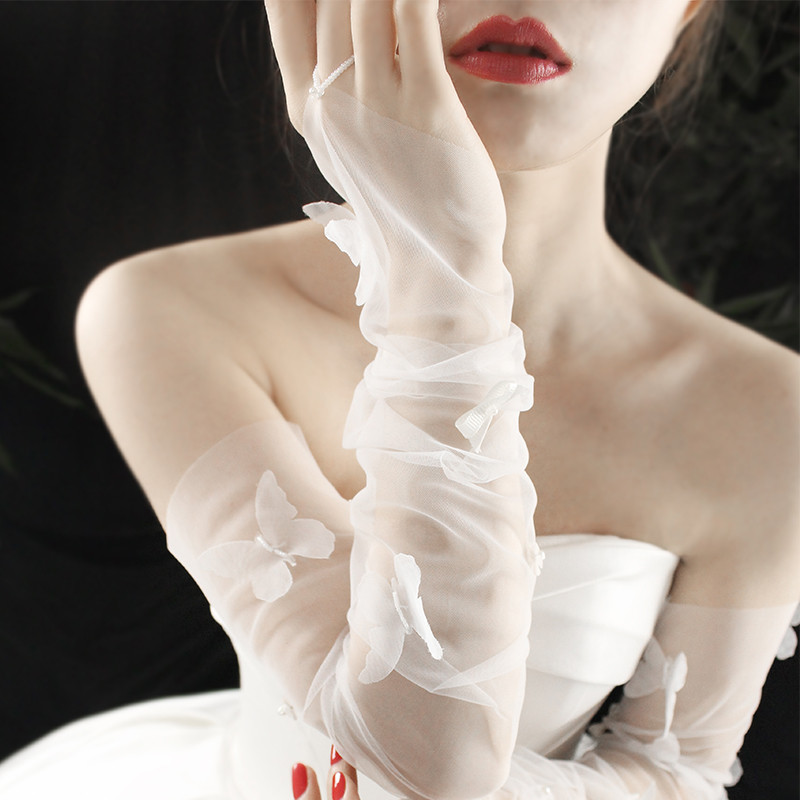 Wedding bride Gloves Long Wedding Dress Gloves Lace champagne color fairy gas super fairy sleeve Long Gloves Wedding
