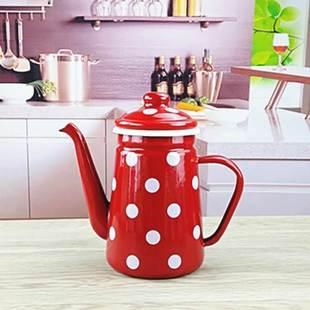 日式搪瓷咖啡壶咖啡壶冷水壶油壶水壶/可加热火热畅销