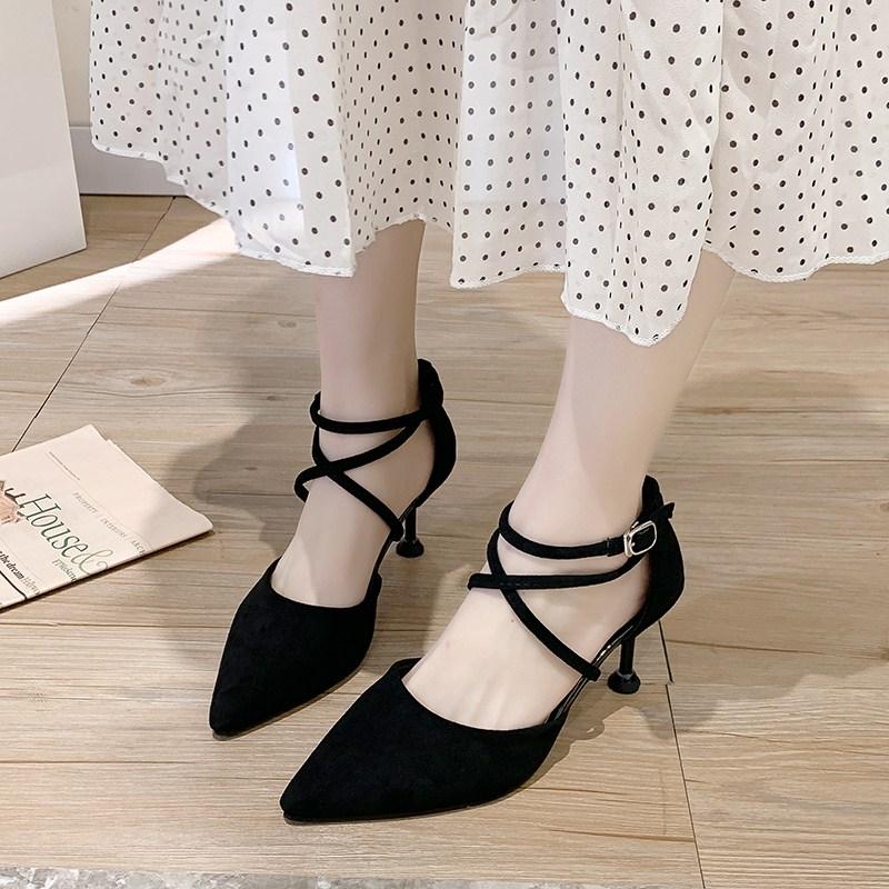 性感绑带尖头高跟鞋女细跟2020春季新款百搭网红法式少女中空单鞋