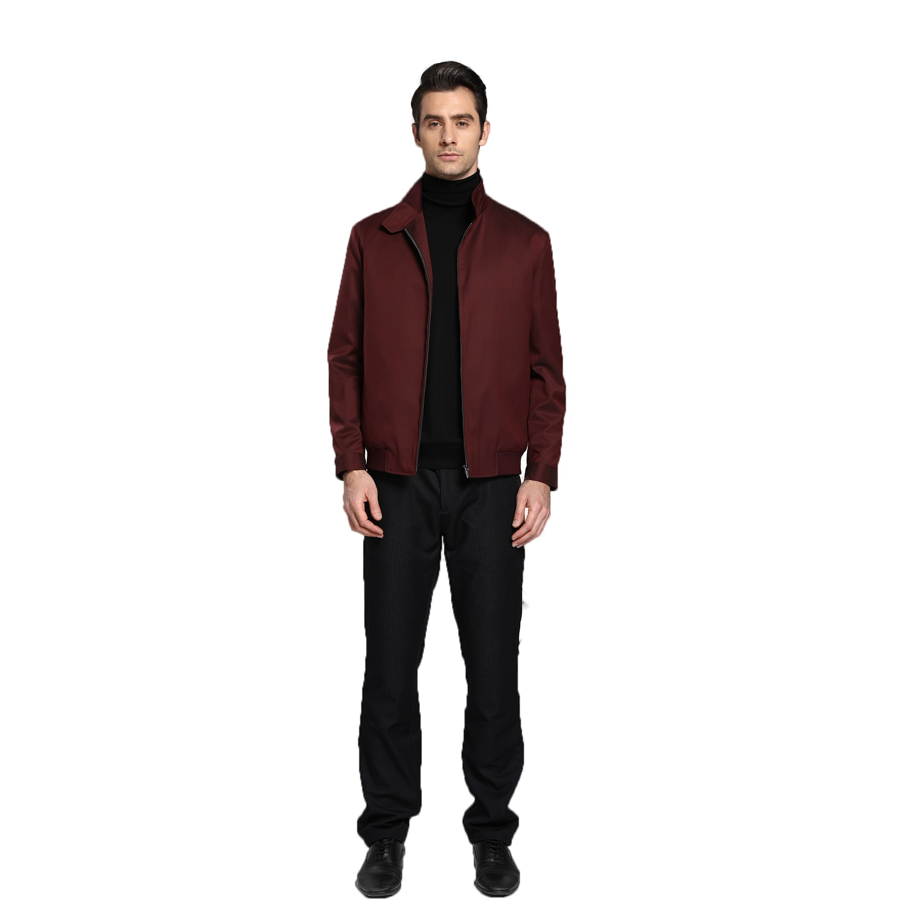 Zelinia mens business leisure classic gentleman zipper fashion versatile wine red high-end spring and autumn jacket