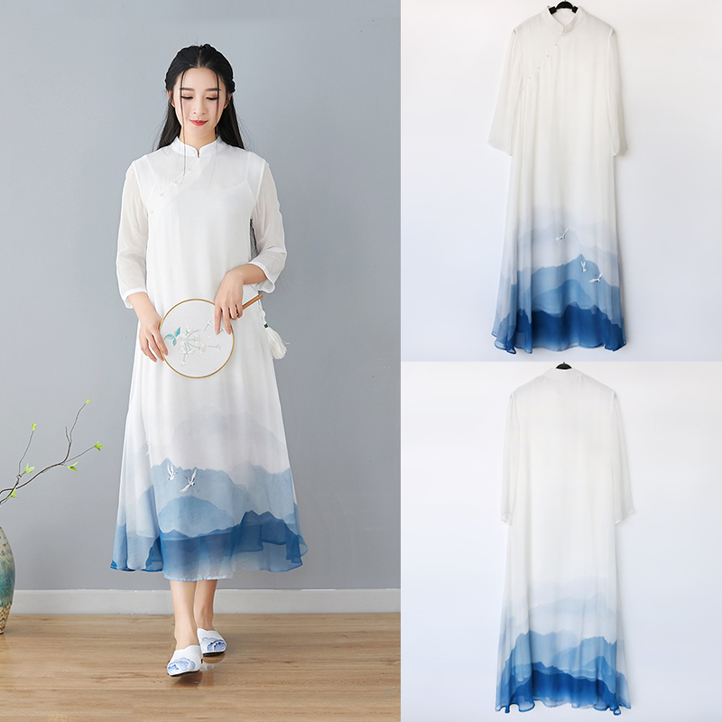 Chinese style womens dress summer Zen dress tea dress Zen literature and art national style retro immortal spirit Chinese Chiffon