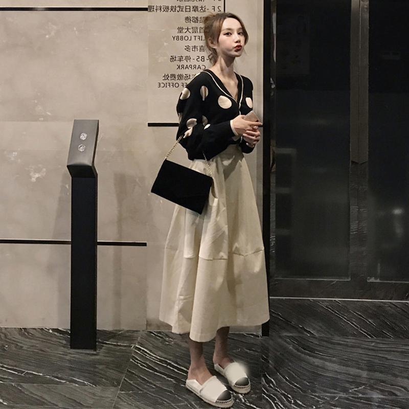 (用20元券)2019早秋新款女装潮洋气初秋两件套装裙子超仙女森系气质时尚长裙