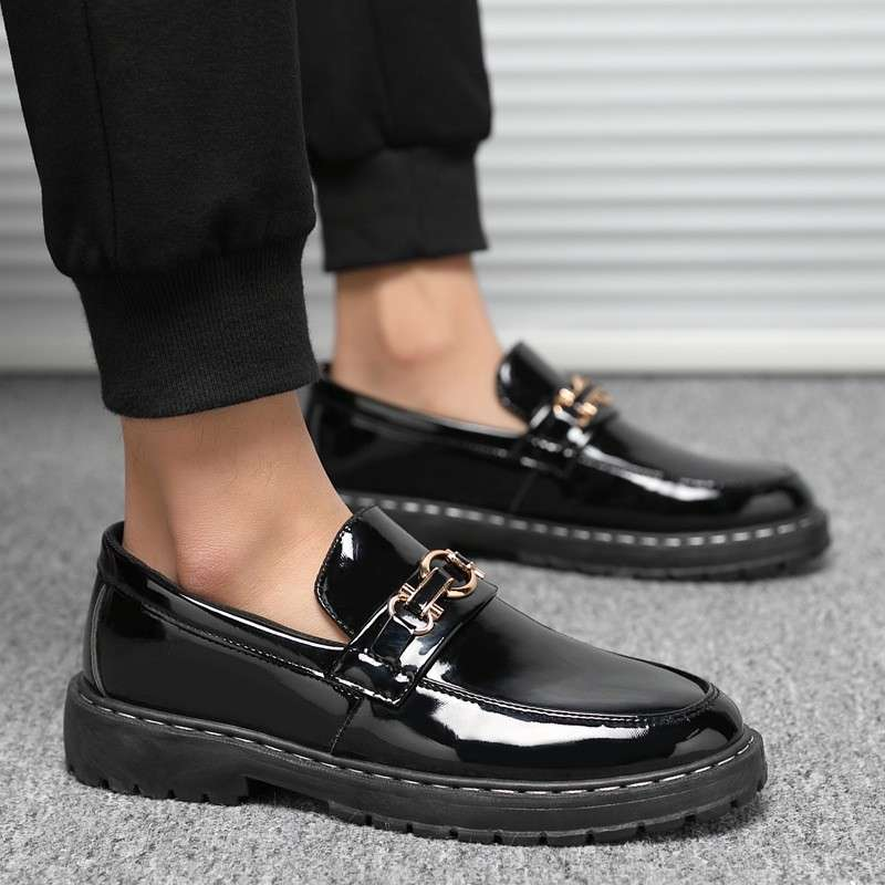 All black bright leather reflective fashion mens shoes bright face night show shoeless shoes with suits and trousers non mainstream high heels