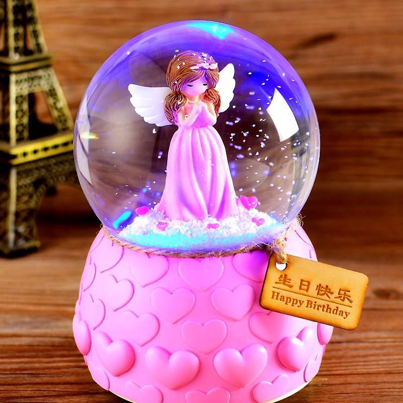 生日创意自动女孩八音盒会发光的水晶球夜光礼物摆件飘雪音乐可爱