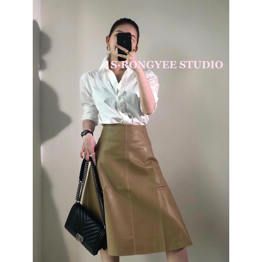 S · Rongye black Khaki Brown two color Pu skirt versatile A-line high waist umbrella skirt medium length leather skirt