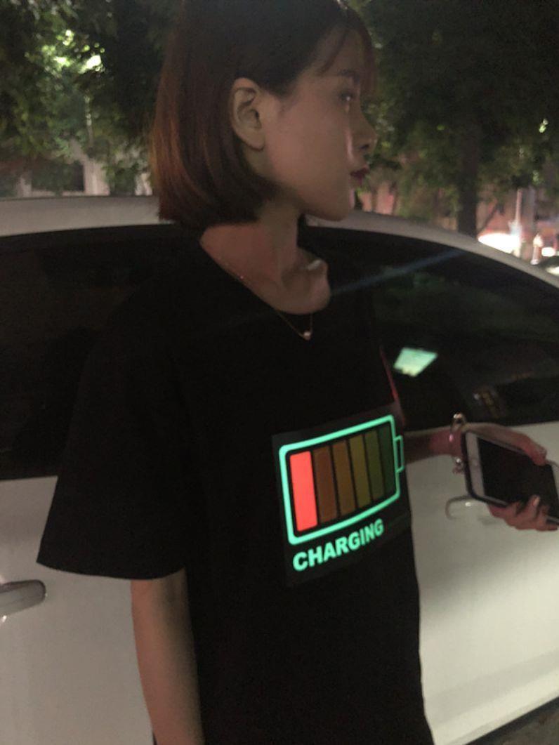 节奏冷光上衣网红灯光短袖晚会声控t恤时髦电池漂亮led清新街舞