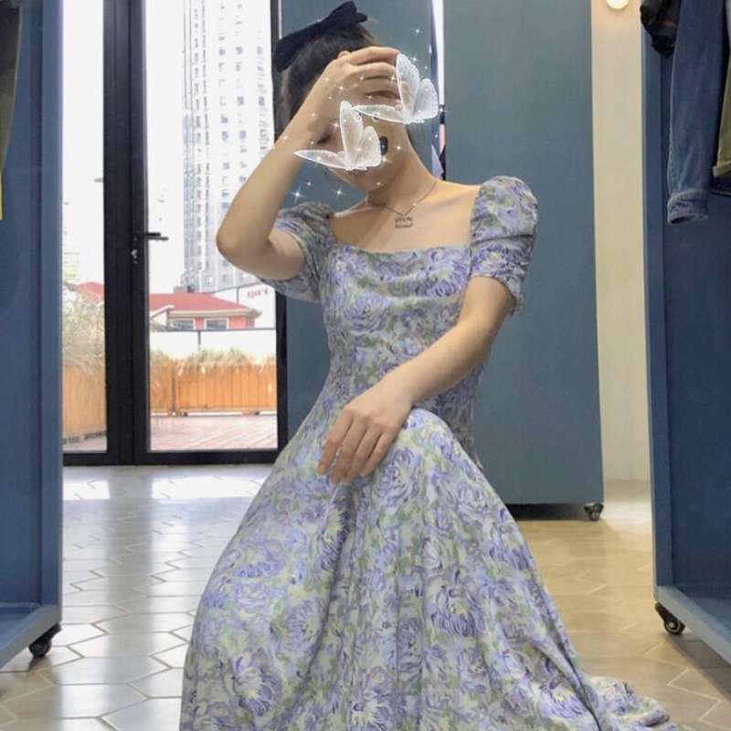 桔梗法式紫色雪纺碎花长款连衣裙2020年新款收腰显瘦气质长裙女款