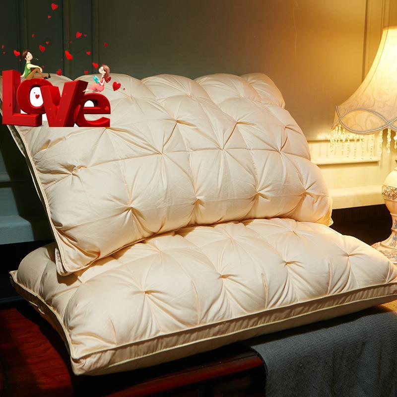 4羽绒枕五星级羽绒枕头全棉立体扭花白鸭绒枕羽毛枕头枕芯鸭毛枕