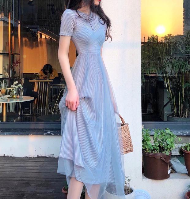 2019夏季新款针织网纱裙超仙高端气质仙女裙收腰显瘦短袖连衣裙女