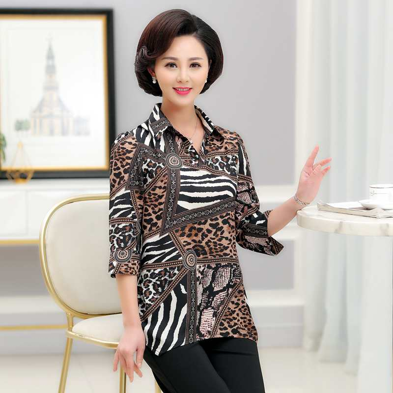 Middle aged womens clothes mother spring and Summer Half Sleeve Chiffon shirt 40-50 years old with collar shirt T-shirt top
