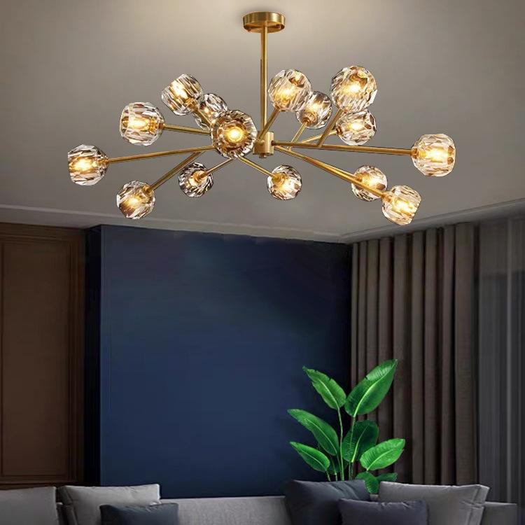 全铜北欧现代风格水晶款客厅灯 大气雅致餐厅卧室枝型分子灯具