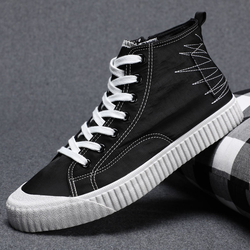 2021 spring mens shoes breathable canvas shoes mens Korean high top shoes fashionable shoes flat bottom casual shoes 38 small board shoes