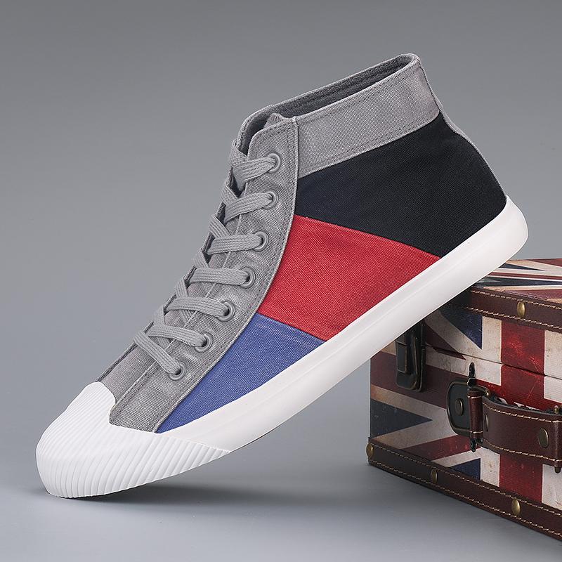 Korean mens shoes canvas shoes casual shoes mens fashion shoes high top shoes color matching lace up board shoes fashion versatile breathable cloth shoes