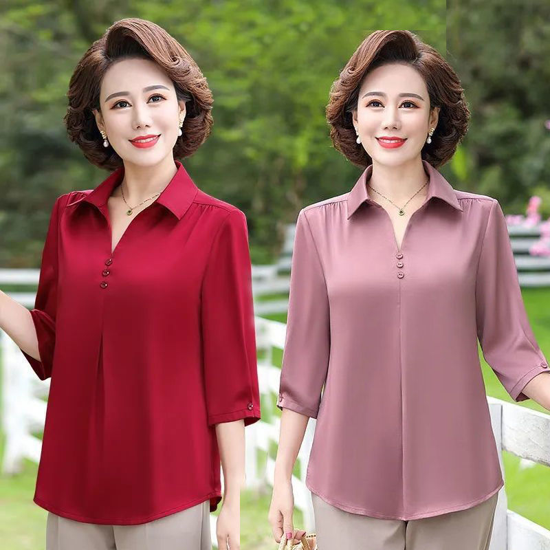 2021新款中老年女装春装七袖大码宽松上衣妈妈夏装中年洋气衬衫
