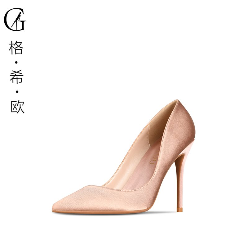 Goxeou / gexio spring new silk satin wedding shoes pointed thin heels high heels shallow professional single shoes