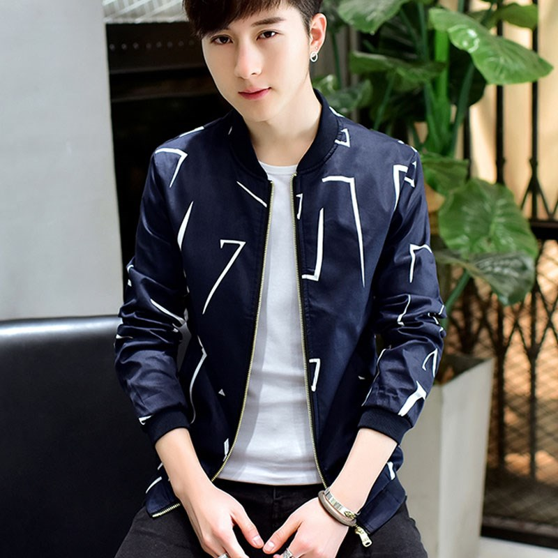Mens coat spring and autumn long sleeve slim Korean Trend youth casual jacket mens bomber spring thin