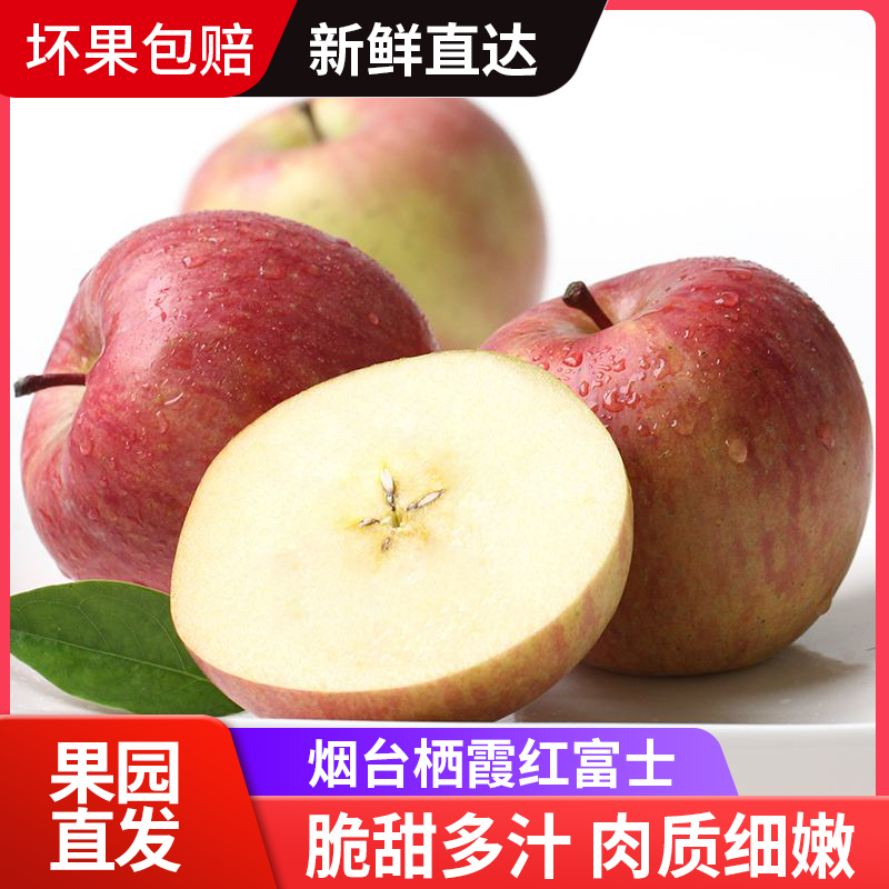 Qixia Apple in Yantai, Shandong 5 jin Red Fuji fruit fresh package should be a whole box of super ugly apples in season