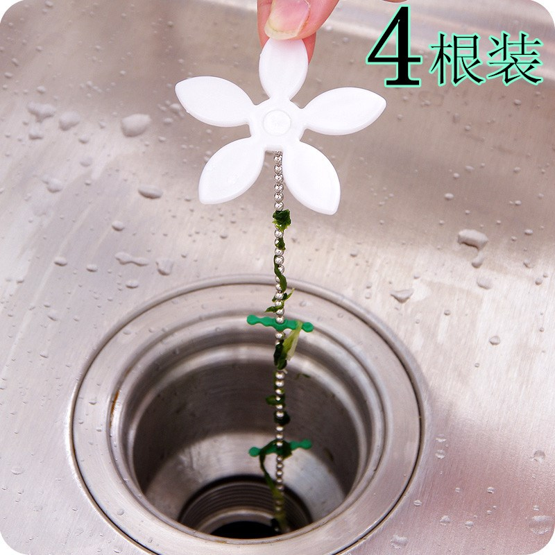 4根装小花造型下水管道毛发清理器 浴室排水口防堵头发清洁疏通器