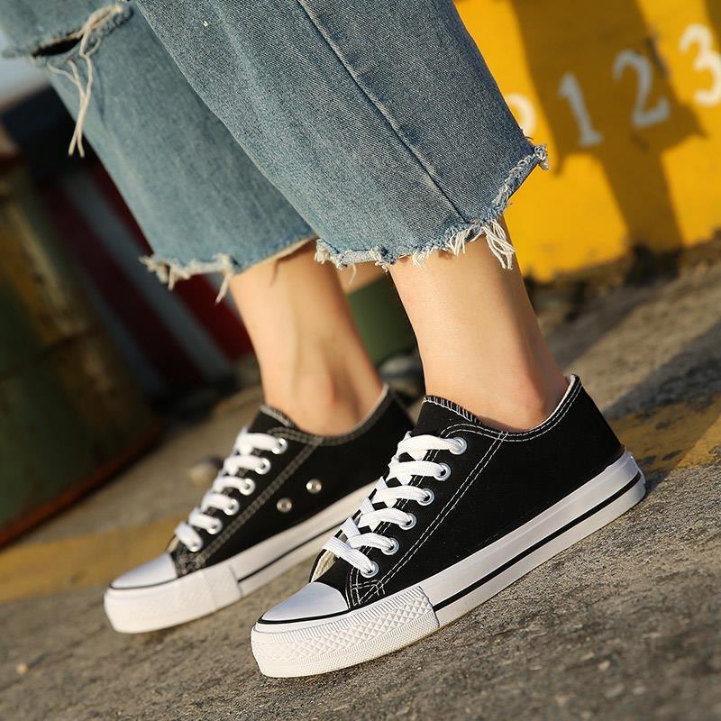 主打薄底帆布鞋女男学生黑色平板鞋男鞋女孩运动鞋男孩新版街拍布