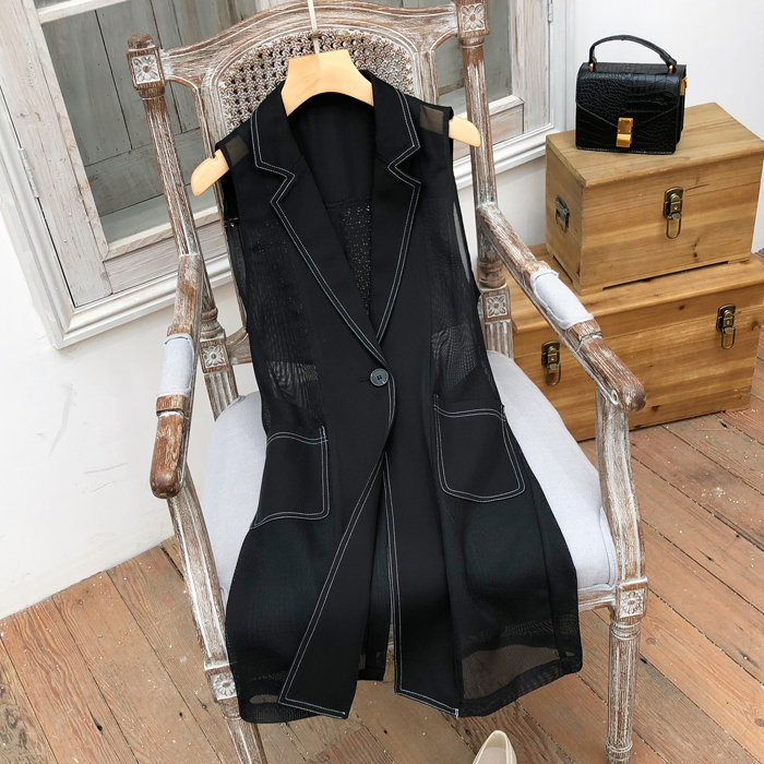Women's mesh waistcoat summer 2020 new medium and long clear line thin waistcoat with patchwork shoulder