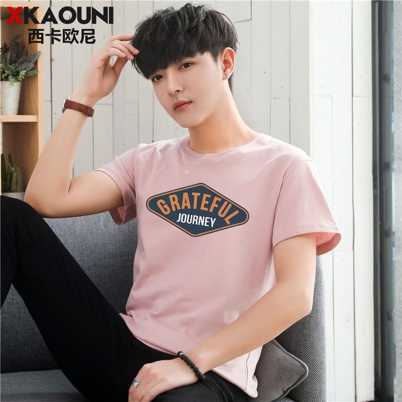 男士短袖t恤韩版潮牌圆领半袖夏季2019新款男装上衣修身衣服潮流