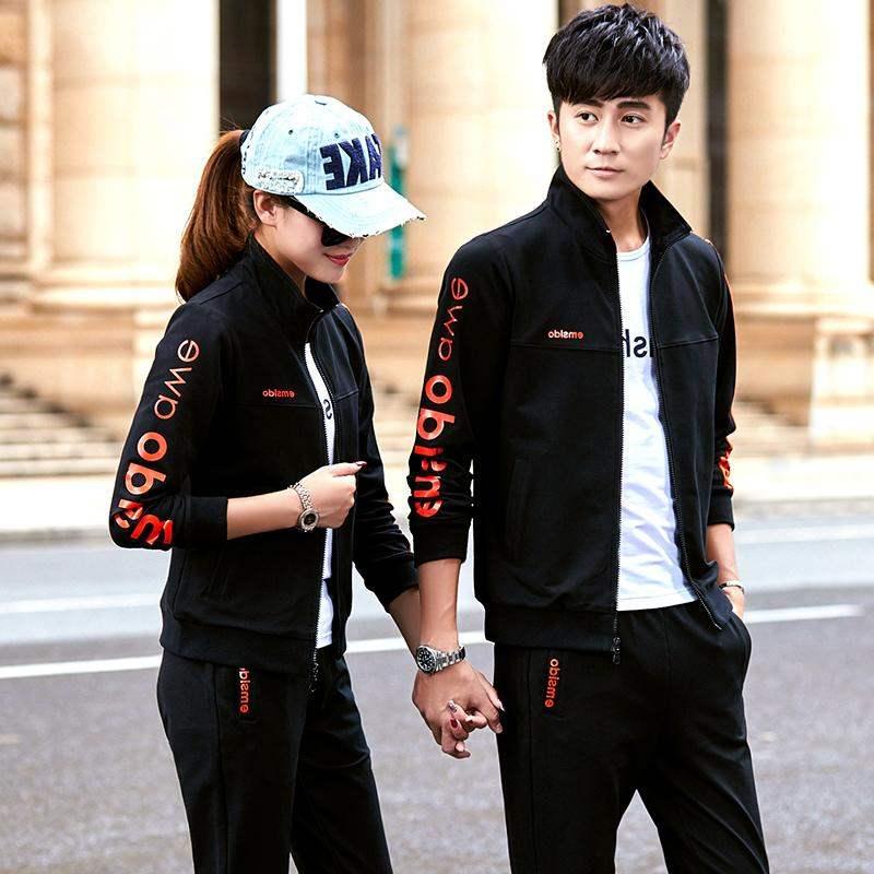 高档正品牌秋季运动套装男跑步运动服装三件套女士运动衣新款情侣