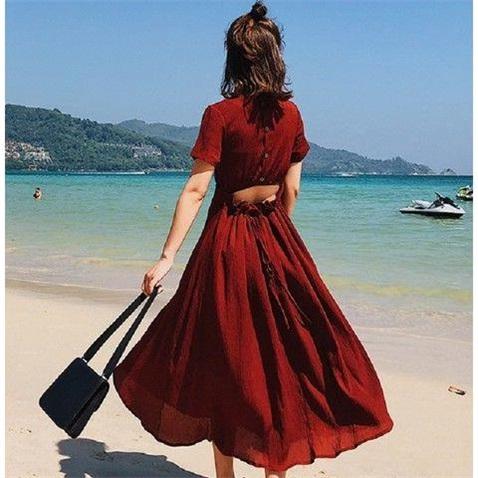 Ins super cool wind womens summer new V-neck short sleeve open back careful machine lace up waist length dress