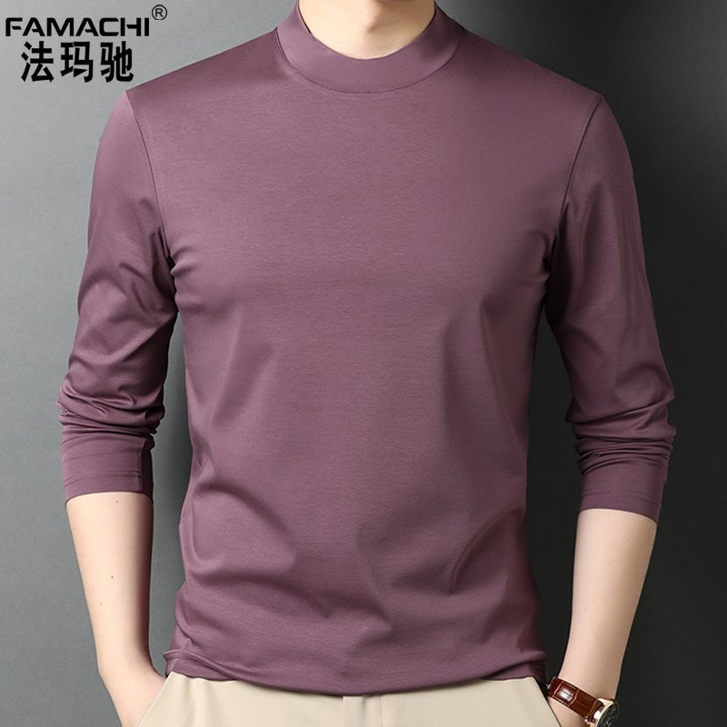 The counter is brand cotton mens long sleeve T-shirt with half high collar for adults. Its made of pure cotton sports base silk