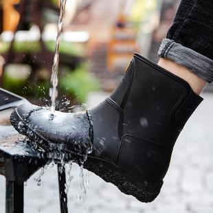 短筒加绒胶鞋 厨房洗车钓鱼工作鞋 欧美时尚 中筒雨靴防滑水鞋 男雨鞋