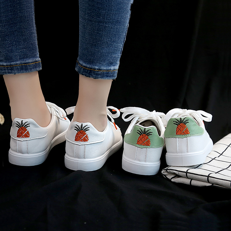 Pingzhifeng small white shoes womens 2019 new personalized embroidered pineapple student board shoes