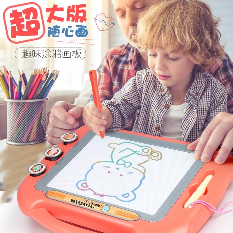 超大号儿童写字性画玩具宝宝涂鸦板1-幼儿3小孩12岁画彩色磁黑0力