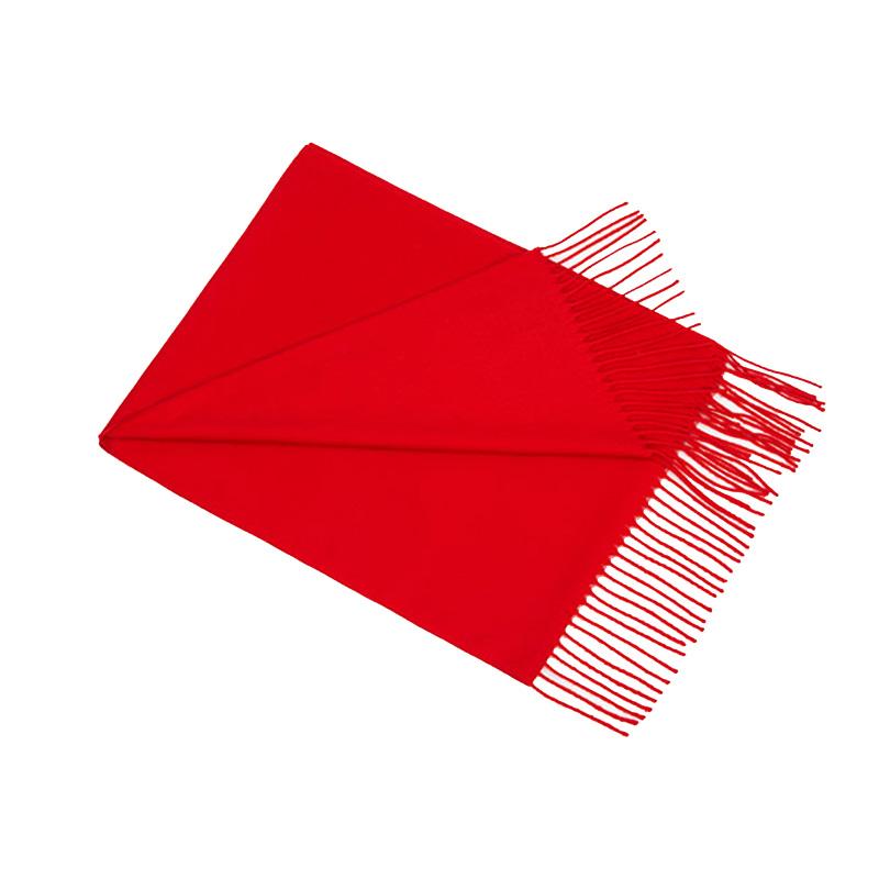 大红色年会红围巾定制图案刺绣logo印字中国红同学聚会活动披肩女
