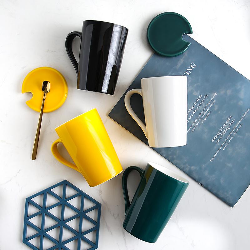 创意个性杯子陶瓷马克杯带盖勺潮流情侣喝水杯家用咖啡杯男女茶杯