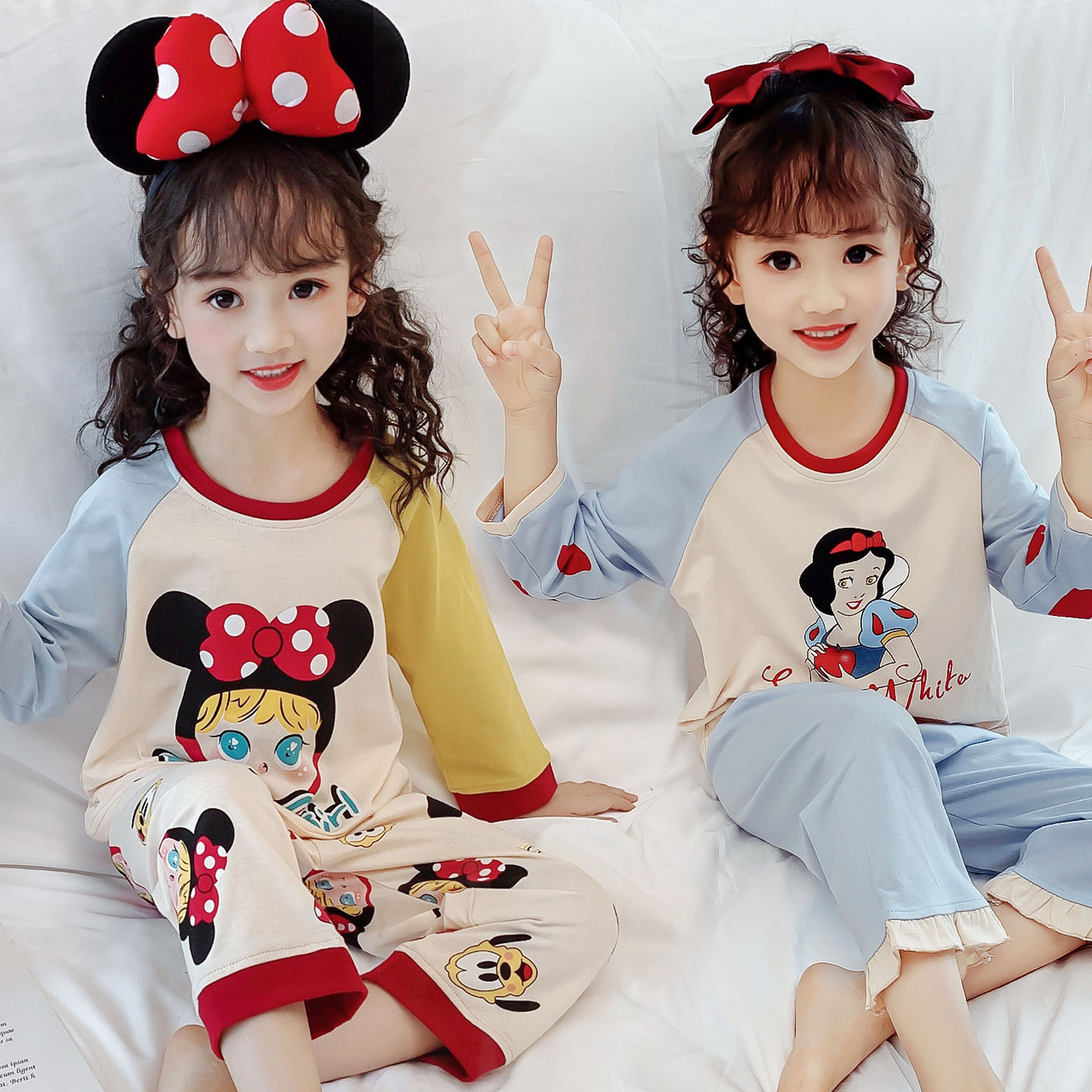 儿童纯棉睡衣春秋季长袖中大童女童卡通全棉宝宝家居服秋冬两件套
