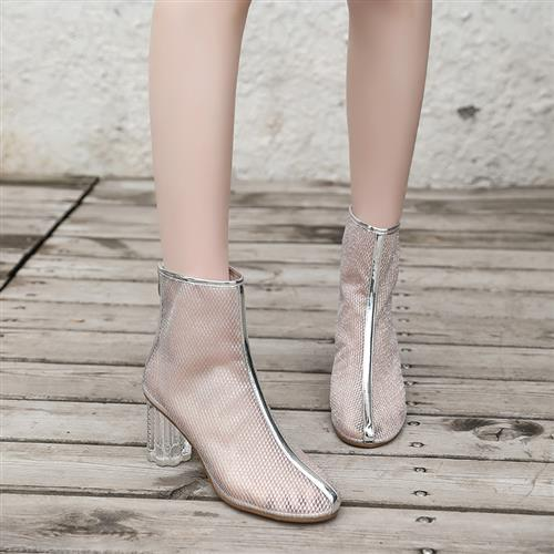。 Mesh thick heels high heels womens summer sandals new high top mesh short boots are versatile, breathable, thin and ankle cool
