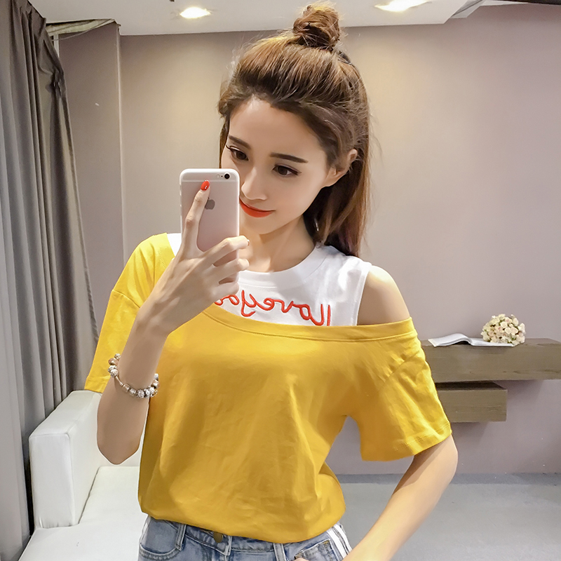 2020 short sleeve T-shirt loose Korean summer embroidery contrast stitching fake two off shoulder top 892