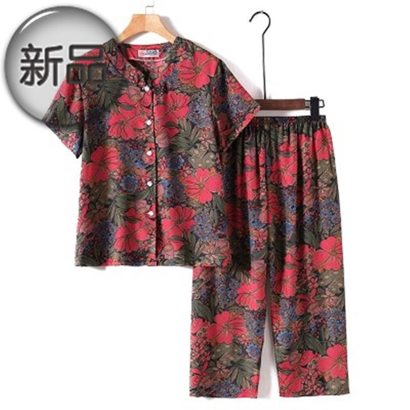 Top pants 2 Pack cardigan suit middle aged and elderly Summer Short Sleeve Silk thin section enlarged milk o milk short sleeve suit