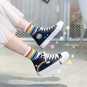 帆布鞋ins女高帮加绒学生韩版百搭2002春夏季新款彩虹舒适小白鞋