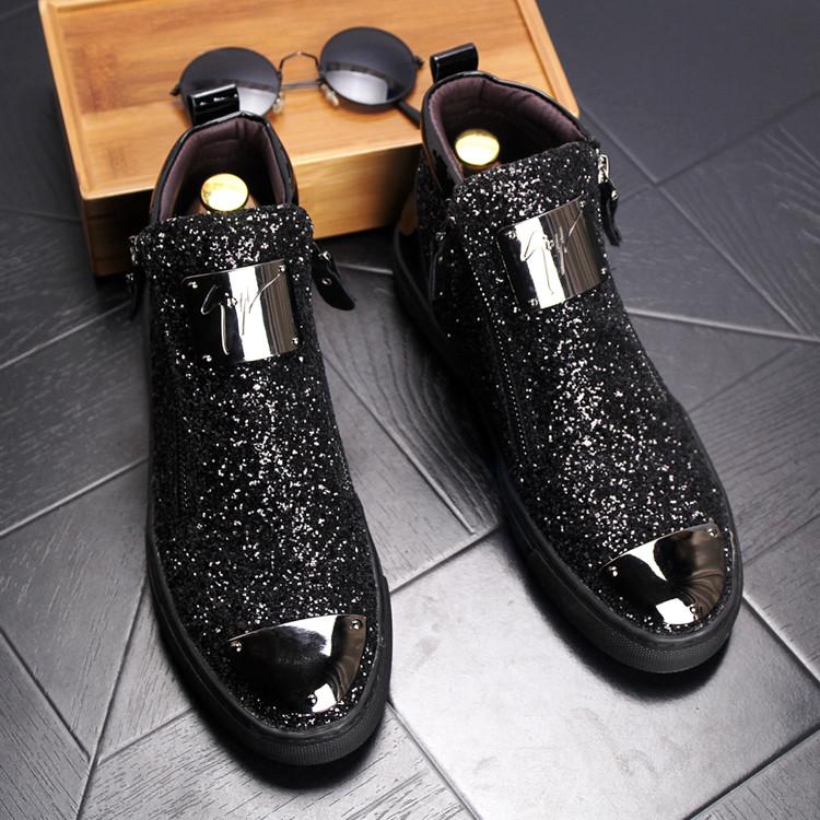 欧洲站男士短靴高帮休闲单鞋英伦内增高马丁靴发型师皮鞋亮片男鞋